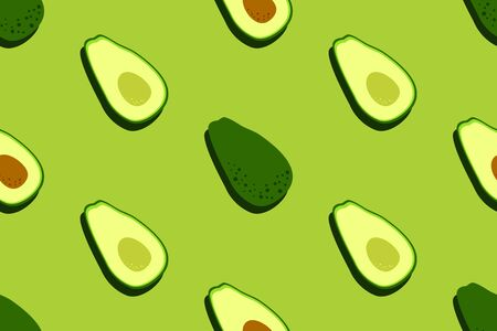 Avocado seamless pattern. Food vegetable background. Bright kitchen, home decor or healthy eating design. Cartoon flat design. Vector
