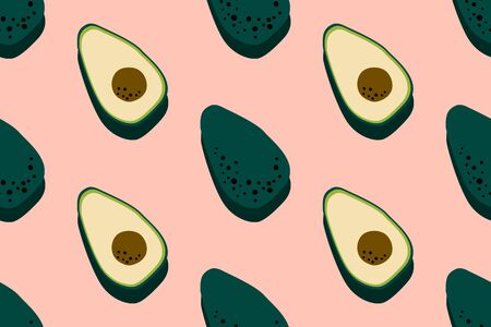 Avocado pink pattern. Seamless food background. Bright kitchen, home decor or healthy eating design. Cartoon flat design. Vector