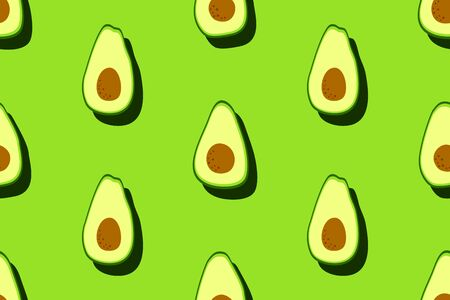 Green avocado pattern. Seamless food background. Bright kitchen, home decor or healthy eating design. Cartoon flat design. Vector