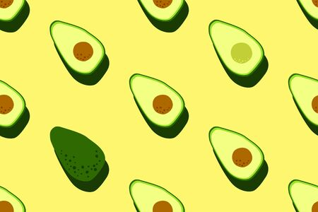 Yellow green avocado pattern. Seamless food vegetable background. Bright kitchen, home decor or healthy eating design. Cartoon flat design. Vector