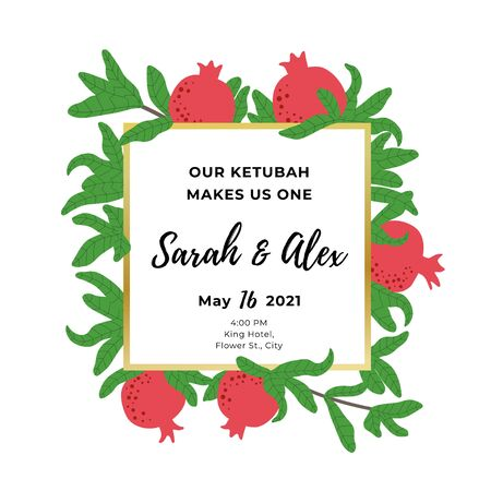 Pomegranate template for wedding invitation. Botanical background. Square frame for Jewish traditional celebration. Red fruit and green leaves drawing. Vector