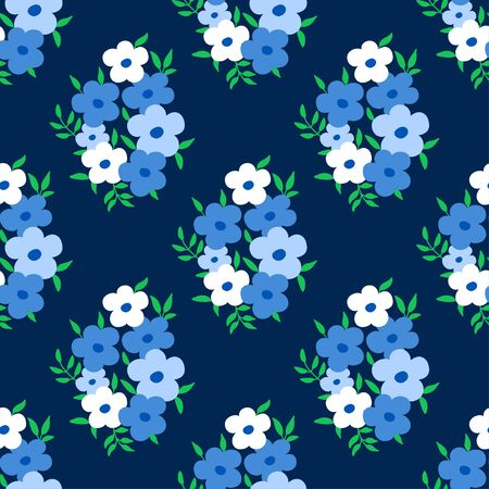 Floral pattern with small flowers bouquet of blue flowers on dark background. Seamless abstract design. Ditsy print for fashion dress textile, wallpaper and home decor. Ilustração