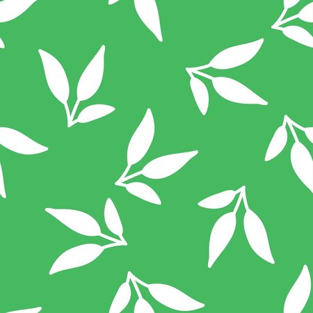 Leaves seamless pattern on green background. Ditsy design. Spring summer motif for fashion prints and home decor textile.