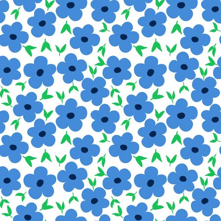 Ditsy floral pattern with cute small blue flowers with green leaves on white background. Seamless design with spring motif great for fashion fabric print and home decor textile.