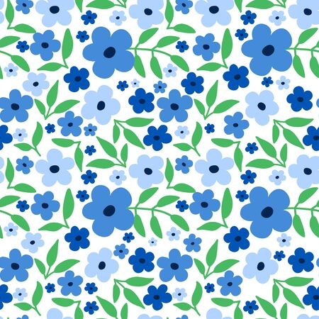 Fresh spring floral seamless pattern. Ditsy design with blue tiny flowers and green leaves. Delicate fashion print in modern trendy style.