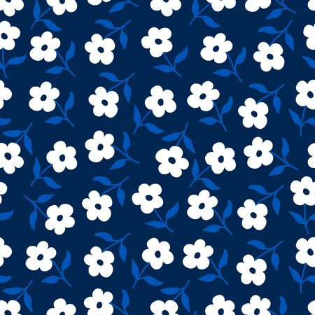 Floral ditsy background with simple abstract tiny flowers. Seamless pattern with spring or summer motif. Elegant template for fashion prints. Small white flowers on blue.
