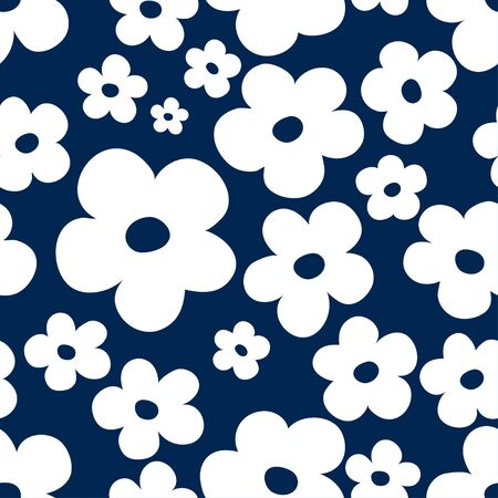 Floral seamless pattern with white silhouettes of small abstract flowers on dark blue background. Ditsy simple design great for fabric and textile.