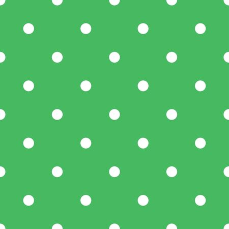 Polka dot seamless pattern with white dots on fresh green background. Elegant design for spring wallpaper, scrapbooking, fashion fabric and home decor textile. Ilustração