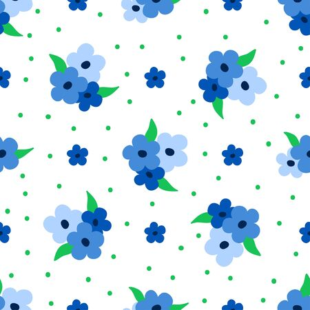 Flower pattern. Seamless floral design with tiny blue flowers and green leaves on dotted background. Great for fashion fabric and home decor textile.