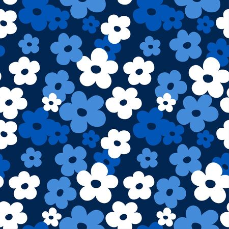 Floral white blue seamless pattern. Ditsy design with small cute flowers.