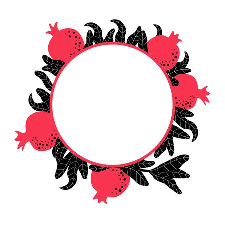 Pomegranate round template for wedding invitation. Botanical wreath background. Circle frame for Jewish traditional celebration. Red fruit and leaves drawing. Vector