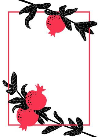 Pomegranate branches for template with text. Red fruits hanging on twig with leaves. Summer fruit background template for invitation, poster and banner. Botanical