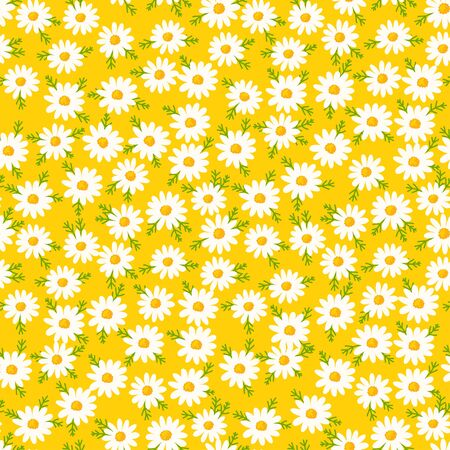 Daisy seamless pattern on yellow background. Floral ditsy print with small white flowers and leaves. Chamomile herbal design great for fashion fabric, kitchen textile and wallpaper. Ilustração
