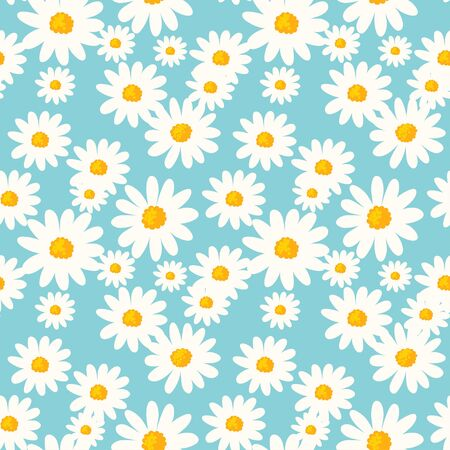 Daisy flower seamless pattern on blue background. Ditsy floral print with tiny chamomile great for fashion fabric, home decor textile and wallpaper.