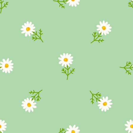 Daisy seamless pattern on fresh mint background. Floral ditsy print with small white flowers and leaves. Chamomile soft design great for fashion fabric, kitchen textile and wallpaper.