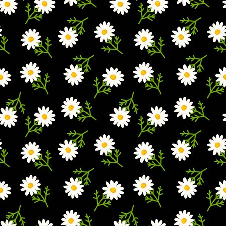 Daisy seamless pattern on black background. Floral ditsy print with small white flowers and leaves. Chamomile trend design great for fashion fabric, kitchen textile and wallpaper. Ilustração
