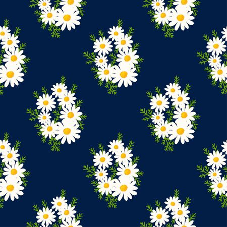 Floral seemless pattern made of daisy bouquet with small white flowers and green leaves. Chamomile background. Spring summer vintage motif. Vector Ilustração