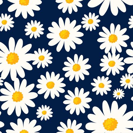 Daisy seamless pattern on dark blue background. Floral ditsy print with small white flowers. Chamomile design great for fashion fabric, trend textile and wallpaper.