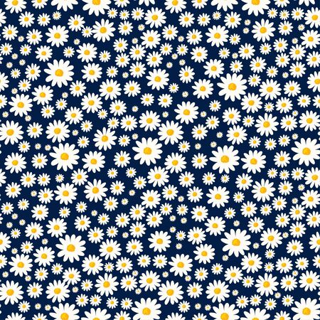Daisy seamless pattern. Floral ditsy print with small white flowers. Chamomile design great for fashion fabric, kitchen trend textile and wallpaper.