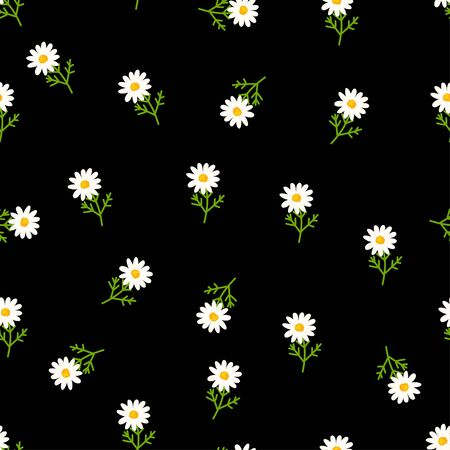 Daisy seamless pattern on black background. Floral ditsy print with small white flowers and leaves. Chamomile design great for fashion fabric, kitchen textile and wallpaper.