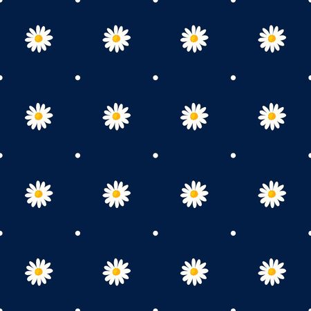 Daisy seamless pattern on dotted background. Floral ditsy print with small white flowers. Chamomile trend design great for fashion fabric, kitchen textile and wallpaper. Ilustração