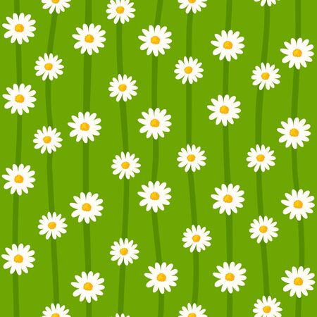 Daisy seamless pattern. Ditsy floral print with small flowers on striped green background. Simple cute design. Vector