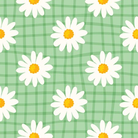 Daisy seamless pattern on hand drawn checked background. Floral ditsy print with small white flowers and leaves. Chamomile trend design great for fashion fabric, kitchen textile and wallpaper.