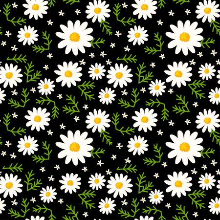 Daisy seamless pattern on black background. Floral ditsy print with small white flowers and green leaves. Chamomile trend design great for fashion fabric, trend textile and wallpaper.
