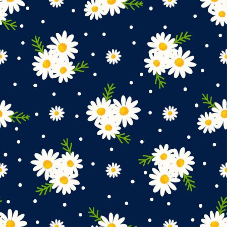 Daisy seamless pattern on dotted background. Floral ditsy print with small white flowers with green leaves. Chamomile design. Vector Ilustração