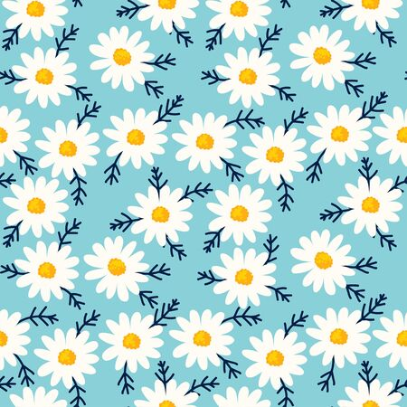 Daisy seamless pattern on blue background. Floral ditsy print with small white flowers and leaves. Chamomile design great for fashion fabric, trend textile and wallpaper.