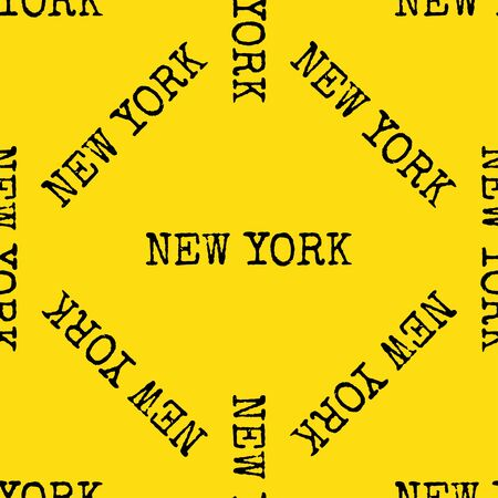 New york city typography seamless pattern. Black and yellow background. Vector Ilustração