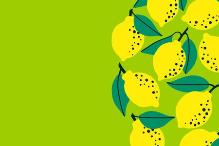 Lemon fruit background with citrus drawing. Summer tropical concept template to place text for healthy eating, quote or recipe. Bright horizontal banner. Flat lay of top view. Vector illustration.