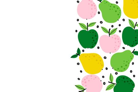 Fruit background with apple and pear drawing. Summer color template to place text for healthy eating or quote. Horizontal banner. Flat lay of top view in cartoon style. Vector