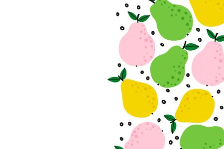 Fruit background with cute pear drawing. Summer color template to place text for healthy food eating, quote or recipe. Horizontal banner. Flat lay of top view in cartoon style. Vector