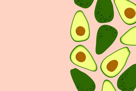Avocado pink background with cute avocado drawing. Food template to place text for healthy food eating, quote or recipe. Bright horizontal banner. Flat lay in cartoon style. Vector