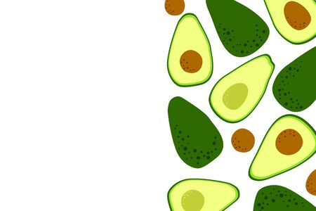 Avocado minimal food background with cute vegetable drawing. Template to place text for healthy food eating, quote or recipe. Bright horizontal banner. Flat lay in cartoon style. Vector Ilustração