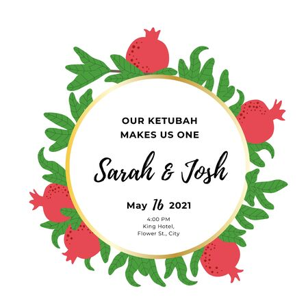 Pomegranate round template for wedding invitation. Botanical wreath background. Circle frame for Jewish traditional celebration. Red fruit and green leaves drawing. Vector