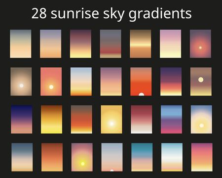 Sunrise gradient bundle. Sky backgrounds for nature landscapes. Vector poster or minimal card templates set. Great for web design or as phone wallpapers.