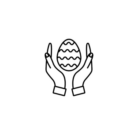 Hands holding an Easter egg. Thin line vector icon. Linear graphic symbol isolated on white. Easter Ilustração
