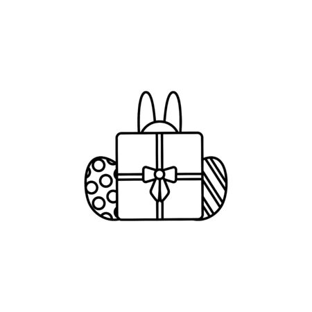 Easter bunny hinding behind a gift box with 2 decorated eggs. Thin line vector icon, linear graphic symbol isolated on white. Holiday Ilustração