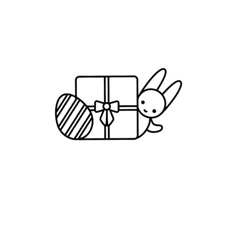 Easter bunny hinding behind a gift box with a decorated egg. Thin line vector icon, linear graphic symbol isolated on white. Holiday