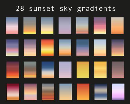 Sunset gradient bundle. Sky backgrounds for nature landscapes. Vector poster or minimal card templates set. Great for web design or as phone wallpapers. Ilustração