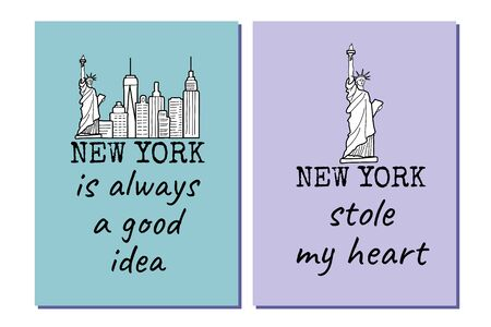 New york posters set with the Liberty Statue, city high buildings and text. Black and white line drawing. Great to use as a t-shirt print. Vector Ilustração