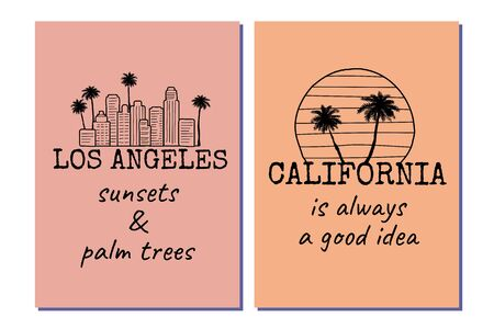 Los Angeles California posters set with palm trees, skyline and text. Black and white line drawing. Great to use as a t-shirt print. Vector illustration.