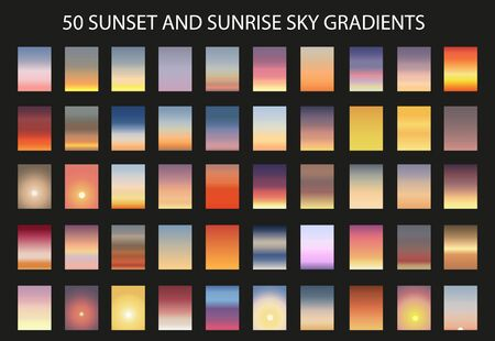 Sunset and sunrise gradient bundle. Sky backgrounds for nature landscapes. Vector poster or minimal card templates set. Great for web design or as phone wallpapers.