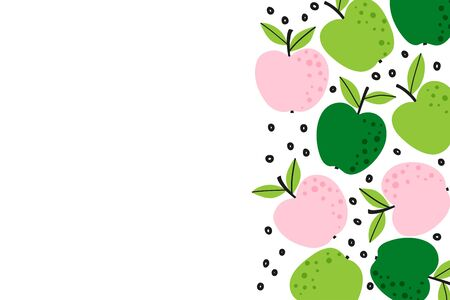 Fruit background with cute apple drawing. Summer color template to place text for healthyeating, quote or recipe. Bright horizontal banner. Flat lay of top view in cartoon style. Vector illustration.