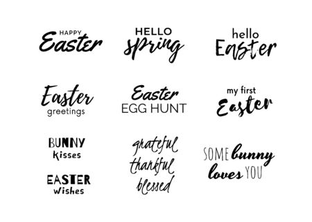 Easter quotes set isolated on white. Collection of Easter greeting texts. Cute typography. Vector Ilustração