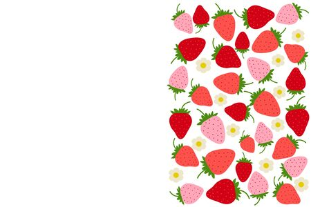 Fruit background with strawberry drawing. Summer color template to place text for healthy food eating, quote or recipe. Bright horizontal banner. Flat lay of top view in cartoon style. Vector berry