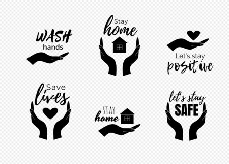 Stay home quotes. Wash hands text with symbols of human hands, heart and house.