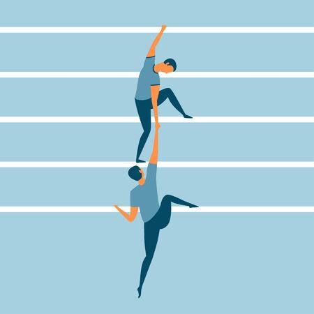 Helping each other on the career ladder. Business concept for being a teacher, leader or supervisor. Two men moving up the corporate ladder. Great for help, support and teamwork. Vector illustration.